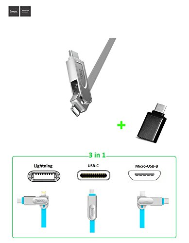 Metallic Figure Female (3-in-1 Charge and Sync USB Cable with Lightning, Type-C and Micro-USB Connectors Merged into one Nifty-Design Head, for iPhone, SmartPhone, iPad, New Macbook 2015, Chromebook Pixel(3.3ft) (Silver))