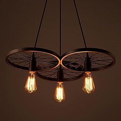 EdiMoM Brand; Vintage Style Metal Art Simple Wheel Pendant Light, 3 Lights, Max 180W, Black and Rust