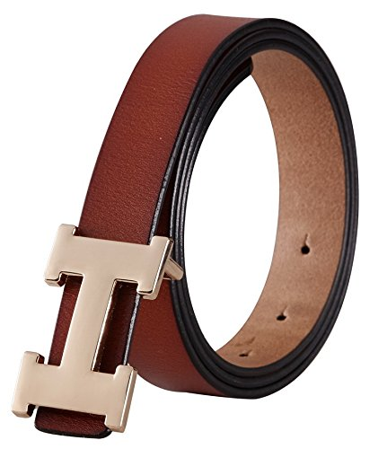 Fashion H-Style Slim Belt for Women Lady [2.5cm Belt Width] (Brown, 95cm (Waist 27''~33'' or Below)) by Amone Ling (Image #4)