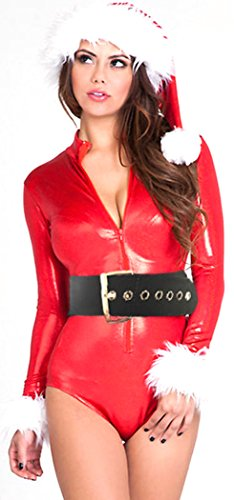 Black Friday PEGGYNCO Christmas Womens Sexy Festive Metallic Zip Front Santa (Best Couples Halloween Costumes Homemade)