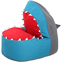 OLizee Creative Shark Bean Bag Chair for Kids Lovely Tatami Oxford Fabric Cartoon Lazy Sofa, 37.4 X 26.7 X 34.2 Blue