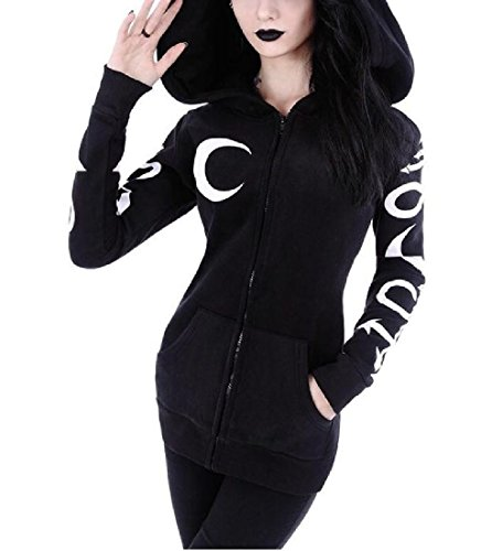Abetteric Women Moon Gothic Witchcraft Vintage Casual Hoodies Top Sweatshirt Black M (Moon In Witch)