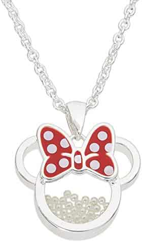 ea6daddcb Disney Birthstone Women and Girls Jewelry Minnie Mouse Silver Plated Shaker Pendant  Necklace, 18+