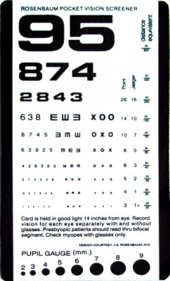 Grafco 1243-1 Pocket Size Plastic Eye Chart, 6 3/8