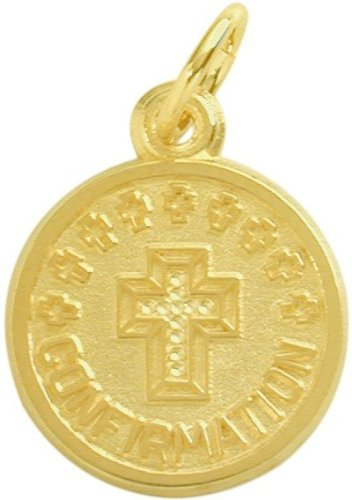 14 Karat Gold High Polish & Matte Religious Small Confirmation Medal Medallion with 16