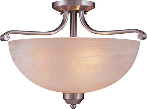 Minka Lavery Semi Flush Mount Ceiling Light 1424-84-PL Paradox Glass Lighting Fixture, 3 Light, 39 Watts Fluorescent, Nickel