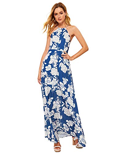 Floerns Women's Sleeveless Halter Neck Vintage Floral Print Maxi Dress Blue-1 L