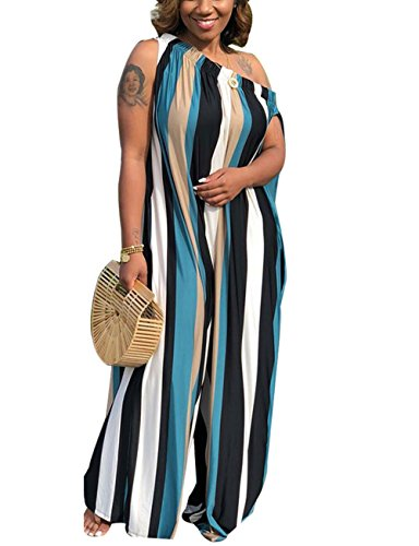 Akmipoem Women Vertical Striped Cap Sleeve Off Shoulder Wide Leg One Piece Jumpsuit Long Rompers