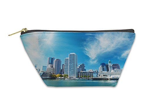 Gear New Accessory Zipper Pouch, Boston Ma Skyline On A Autumn Day, Large, - Cambridge Us Ma