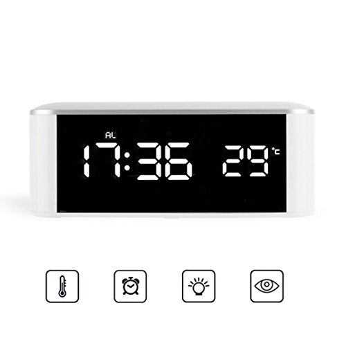 AOCOBOOK Alarm Clock for Bedrooms Cordless Clock with Large Led Display,Temperature and Timer Function,White,(Remove The Protective Film Before Use)