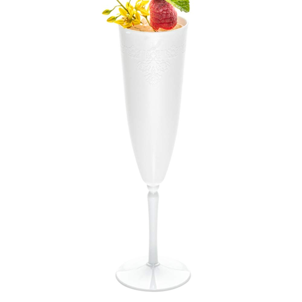 White Plastic Champagne Flute - 4 oz - Catering, Weddings, Banquets - One Piece Design - 20ct Box - Restaurantware by Restaurantware