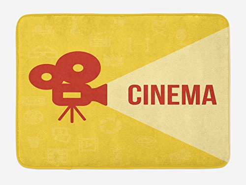 Ambesonne Movie Theater Bath Mat, Projector Silhouette with Cinema Quote Movie Symbols Background, Plush Bathroom Decor Mat with Non Slip Backing, 29.5 W X 17.5 W Inches, Dark Coral Beige Yellow by Ambesonne