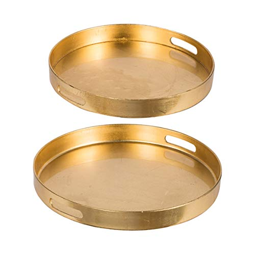 Loui Michel Cie Quinn Gold Round Tray, Set of 2, (Tray Round Gold)