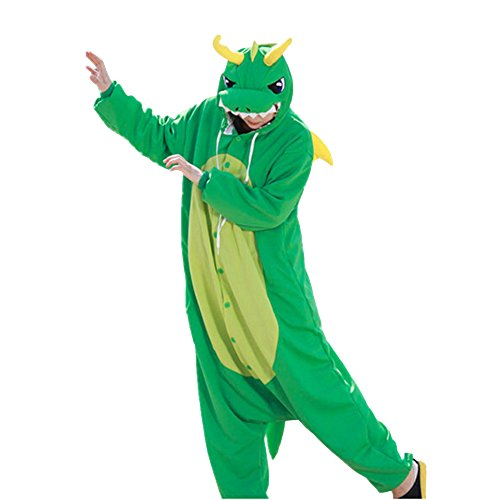 Dragon For Adults Green Costume (WOTOGOLD Animal Cosplay Costume Dragon Unisex Adult Pajamas Light)
