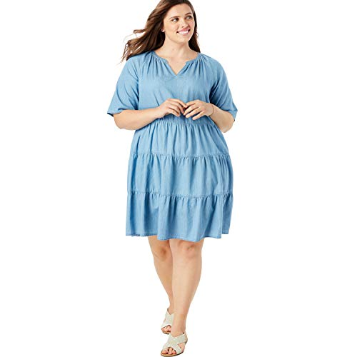 Woman Within Women's Plus Size Cotton Tiered Trapeze Dress - Medium Stonewash Denim, 18 W