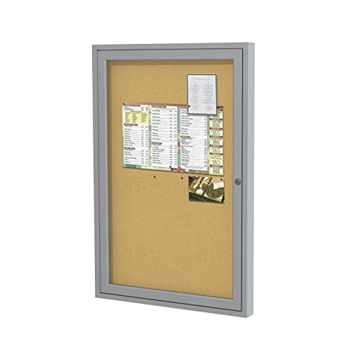 "Ghent 24""x18""   1-Door indoor  Enclosed Bulletin Board, Shatter Resistant, with Lock, Satin Aluminum Frame - Natural Cork (PA12418K)  Made in the USA"