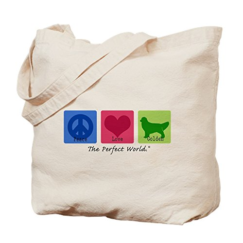 CafePress Peace Love Golden Natural Canvas Tote Bag, Cloth Shopping - Tote Silhouette Pets Bag