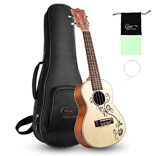 Hricane Concert Ukulele 23 Inch Spruce Flower Carved Sapele Professional Ukuleles for Beginners with Bag String Set
