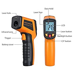 Proster Infrared Kitchen Thermometer Gun Digital Laser Thermometer Non-Contact Cooking IR Temperature Thermometer Gun Instant-read Range -58?~752? / -50? ~ 400? for Kitchen Cooking