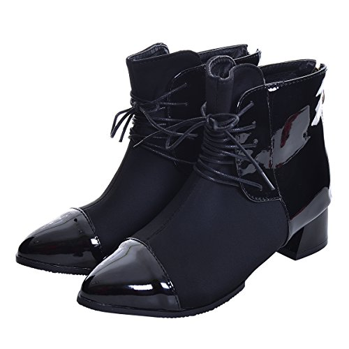 Women's Zip Ankle Fashion Bootie Heel Leather Winter Boots Chunky Boots Toe Shoes Slduv7 Pointy Patchwork Black HqT5Ewv