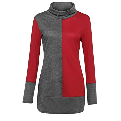 Women Cowl Neck Splicing Pullover Sweatshirt Long Sleeve Color Block Tunic Top Blouse -