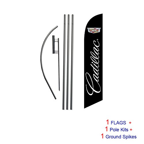 Cadillac Auto Dealership Advertising Feather Banner Swooper Flag Sign with Flag Pole Kit and Ground Stake