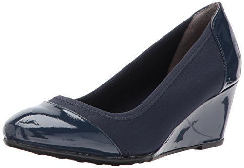 Blue Wedge Shoes - LifeStride Women's Juliana Stretch Wedge Pump, lux Navy, 9 M US