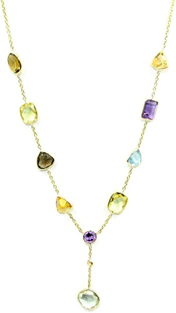 Multicolor Gemstones 18 Inches Necklace 14k Yellow Gold Chain with Lobster Lock