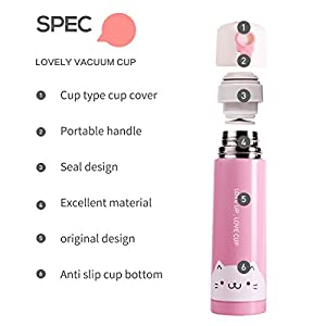 UPSTYLE Portable 17 oz Vacuum Insulated Stainless Steel Water Bottle Travel Mug Cute Couple Cats Design Thermos Bottle Coffee Thermos Vacuum Flask , (Pink)
