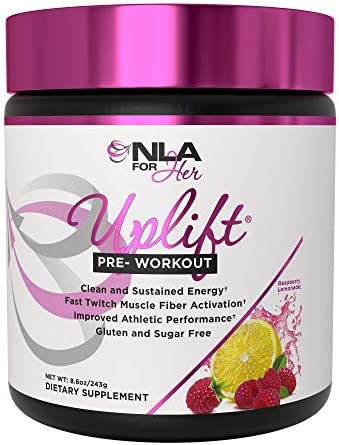 NLA for Her – Uplift – Pre-Workout Energy – Provides Clean Sustained Energy, Supports Athletic Performance, Helps Fast Twitch Muscle Fiber Activation – Raspberry Lemonade – 40 Servings