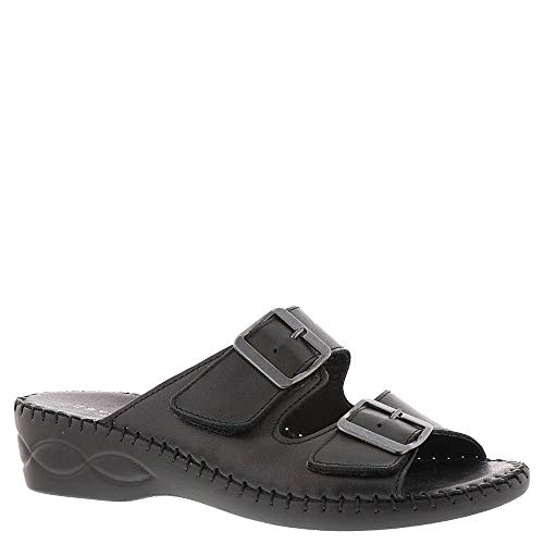 David Tate Womens Slide - David Tate Womens Rudy Leather Open Toe Casual Slide Sandals, Black, Size 8.0
