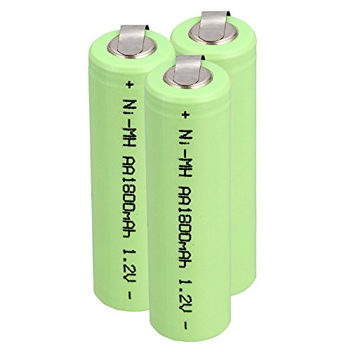 Windmax 3 x NiMH 1.2v AA 1800 mAh Electric Shaver Rechargeable Battery with Solder Tabs