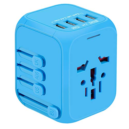 International Travel Adapter, YVELINES Upgraded All-in-One Universal Travel Charger Power Adapter with 4 USB AC Socket Worldwide Wall Charger Plugs Adapter for EU, UK, US, AU, Asia