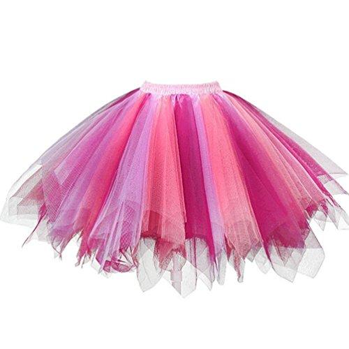 (Ellames Women's Vintage 1950s Tutu Petticoat Ballet Bubble Dance Skirt Coral/Fushia)