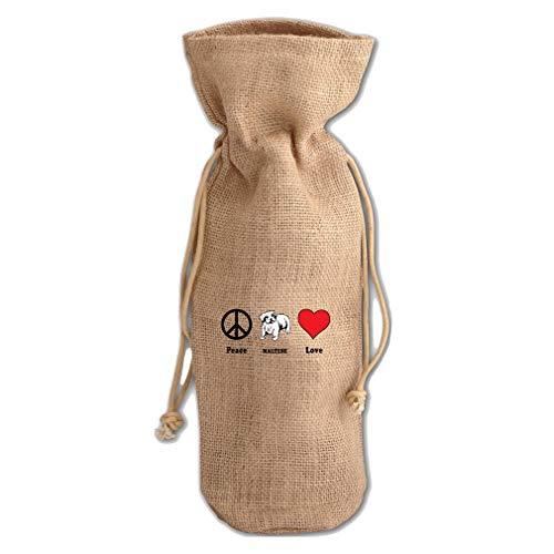 - Peace Love Maltese Dog Jute Burlap Wine Drawstring Bag Wine Sack