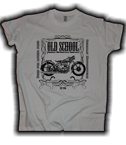 HELLMOTORS AWO Biker T-Shirt Herren Hellgrau Oldschool Oldtimer Touren Sport