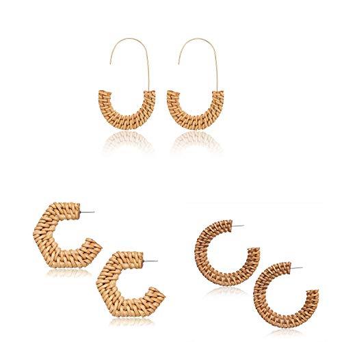 MOLOCH Rattan Earrings for Women Handmade Straw Wicker Braid Hoop Earrings Lightweight Wire Drop Dangle Earrings Fashion Jewelry ()