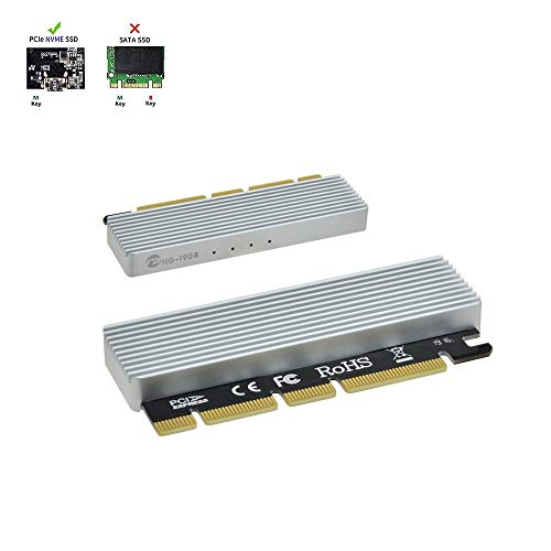NVME Adapter PCIe x16 with Heat Sink, M.2 SSD Key M to PCI Express Expansion Card, Support 2230 2242 2260 2280, Compatible for Windows XP / 7/8 / 10