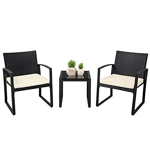 SUNCROWN Outdoor Bistro Set 3 Piece Black Wicker Chairs with Glass Top Table All-Weather Wicker Patio Furniture with Beige-White Cushions | Garden, Backyard, Porch or ()