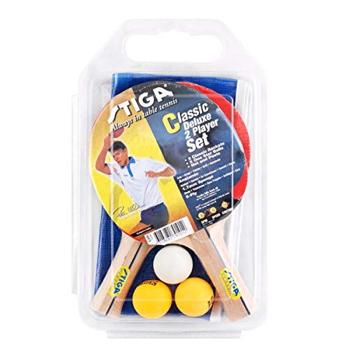 Stiga Classic Deluxe 2 Player Racket with Net and Posts 3 Balls Table Tennis Set