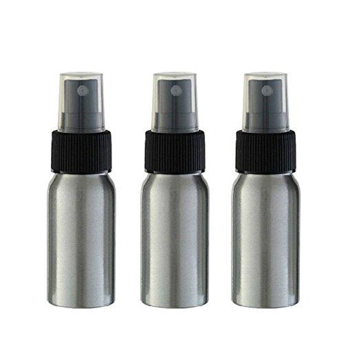 Furnido 1 oz Aluminium Essential Oil Spray Bottle Refillable Perfume Fine Mist Atomiser Empty Beauty Metal Spray Bottles Cosmetic Packaging Container travel subpackage Bottles 4-Pack (Black Caps)