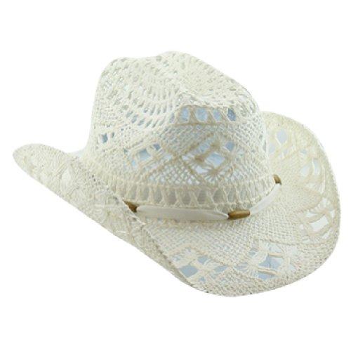 (White Stylish Toyo Straw Beach Cowboy Hat W/Shapeable Brim, Boho Modern Cowgirl)
