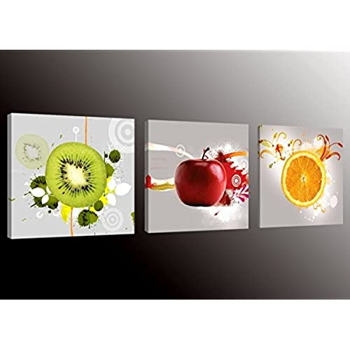 Formarkor Art Kx1656 Fruit Picture Canvas Wall Art Prints For Kitchen,Framed  Food Canvas Painting For Kitchen,Red Apple,Orange,Green Kiwi Print On Canvas  ...