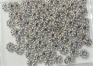 Beautiful Bead 5mm Antiqued Silver Plated Pewter Beads Rondelle Daisy with 1.5mm Hole Metal Spacers for Bracelets DIY Jewelry Making (About 100pcs (Pewter Daisy Spacer Beads)