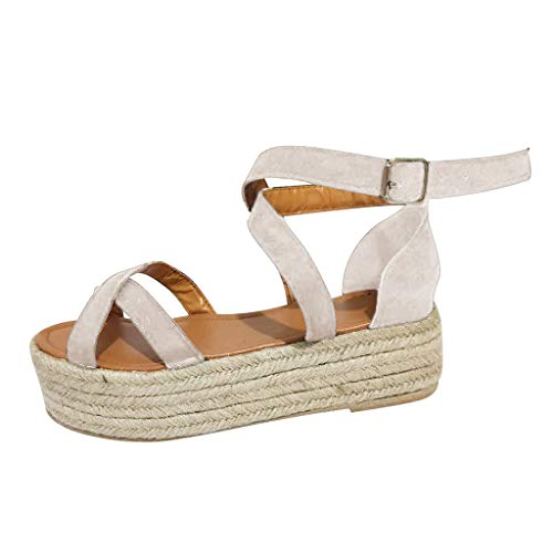 Hurrybuy Women's Platform Espadrilles Criss Cross Slide-on Open Toe Faux Leather Studded Straw Thick Bottom Shoes Beige
