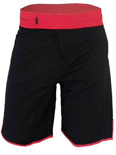 Red Mma Fight Shorts (Blank WOD Shorts by Epic MMA Gear (30, Black/Red))