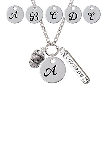 Horse Head on Hatched Background Spinners Custom Initial Courage Strength Zoe Necklace