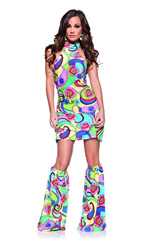 Underwraps Costumes Women's Retro Hippie Costume - Far Out, Multi, ()