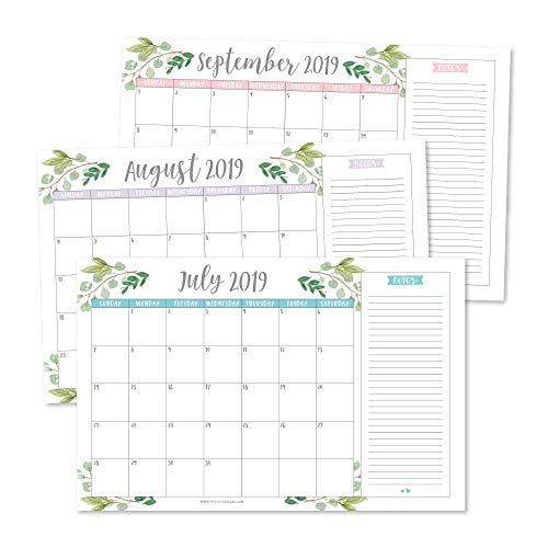 Greenery 2019-2020 Large Monthly Desk or Wall Calendar Planner, Big Giant Planning Blotter Pad, 18 Month Academic Desktop, Hanging 2-Year Date Notepad Teacher, Mom Family Home Business Office 11x17
