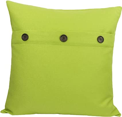 Manor Luxe Solid Color with Buttons Decorative Pillow Feather Filled Green Apple ML13004 20-Inch